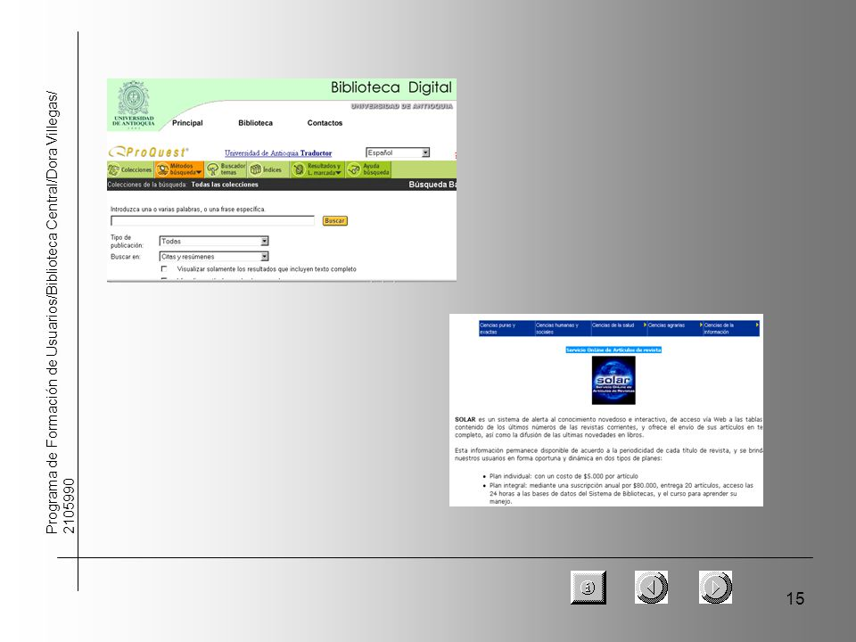 15 Programa de Formación de Usuarios/Biblioteca Central/Dora Villegas/ 2105990