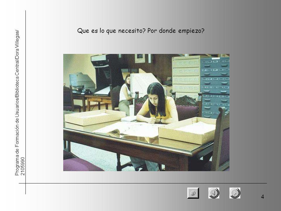 4 Programa de Formación de Usuarios/Biblioteca Central/Dora Villegas/ 2105990 Que es lo que necesito? Por donde empiezo?