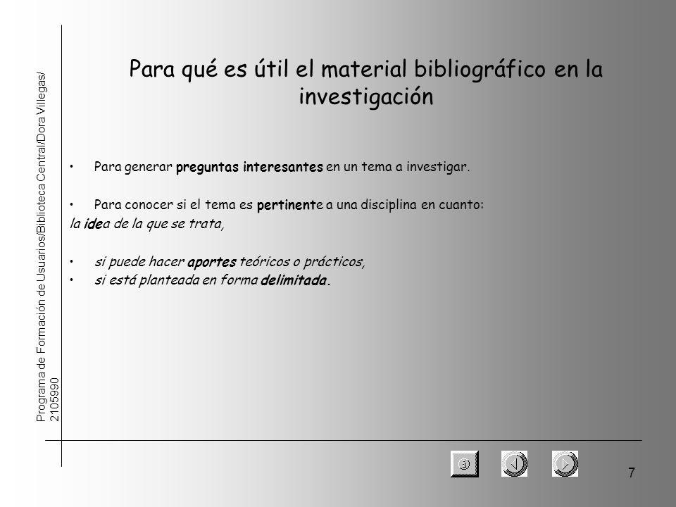 7 Para qué es útil el material bibliográfico en la investigación Para generar preguntas interesantes en un tema a investigar. Para conocer si el tema
