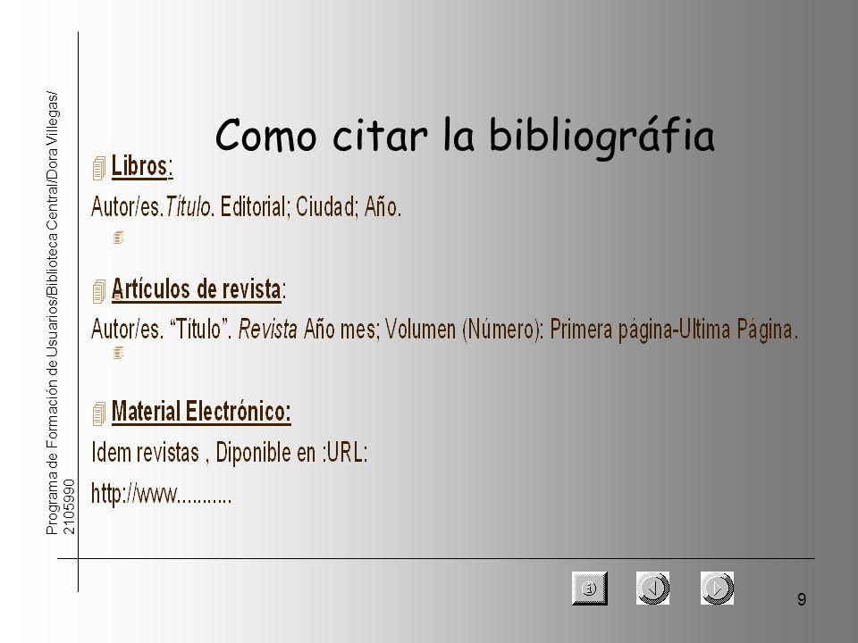 9 Programa de Formación de Usuarios/Biblioteca Central/Dora Villegas/ 2105990 Como citar la bibliográfia 4 4 4