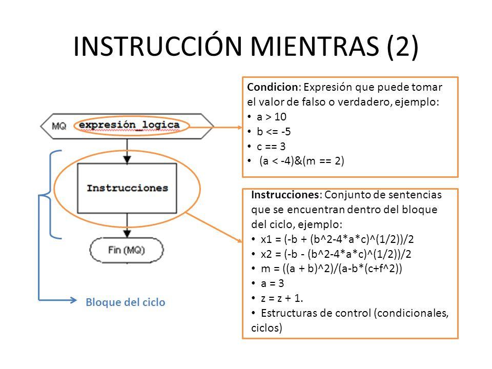 INSTRUCCIÓN MIENTRAS (2) Condicion: Expresión que puede tomar el valor de falso o verdadero, ejemplo: a > 10 b <= -5 c == 3 (a < -4)&(m == 2) Instrucciones: Conjunto de sentencias que se encuentran dentro del bloque del ciclo, ejemplo: x1 = (-b + (b^2-4*a*c)^(1/2))/2 x2 = (-b - (b^2-4*a*c)^(1/2))/2 m = ((a + b)^2)/(a-b*(c+f^2)) a = 3 z = z + 1.