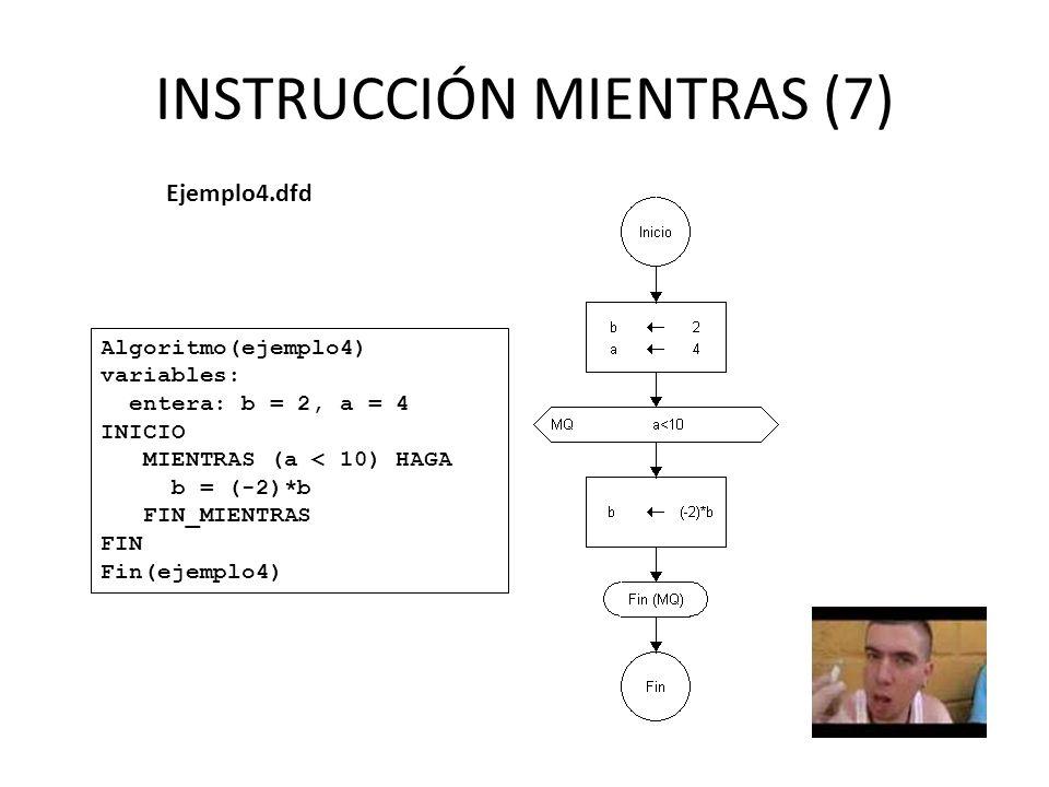 INSTRUCCIÓN MIENTRAS (7) Ejemplo4.dfd Algoritmo(ejemplo4) variables: entera: b = 2, a = 4 INICIO MIENTRAS (a < 10) HAGA b = (-2)*b FIN_MIENTRAS FIN Fin(ejemplo4)