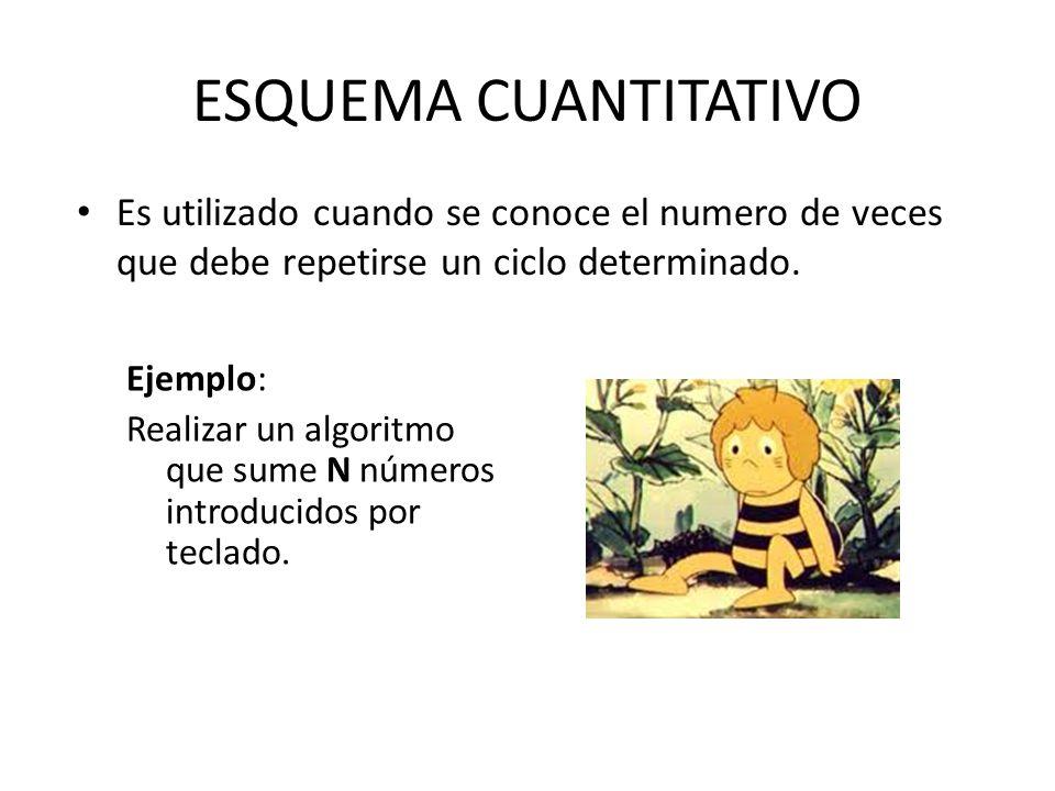 ESQUEMA CUANTITATIVO Es utilizado cuando se conoce el numero de veces que debe repetirse un ciclo determinado.
