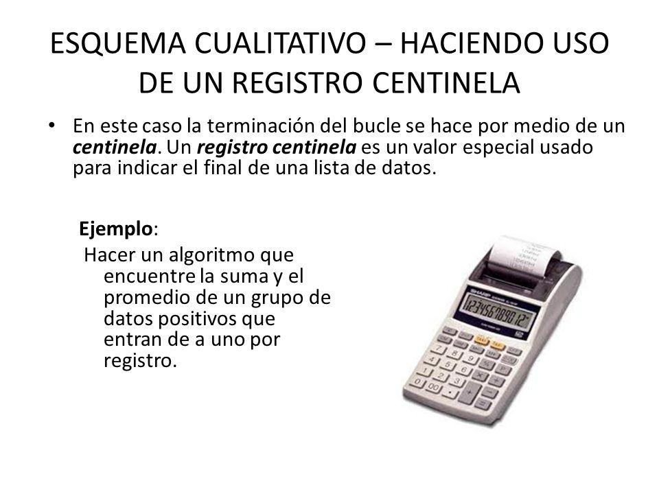 ESQUEMA CUALITATIVO – HACIENDO USO DE UN REGISTRO CENTINELA En este caso la terminación del bucle se hace por medio de un centinela.
