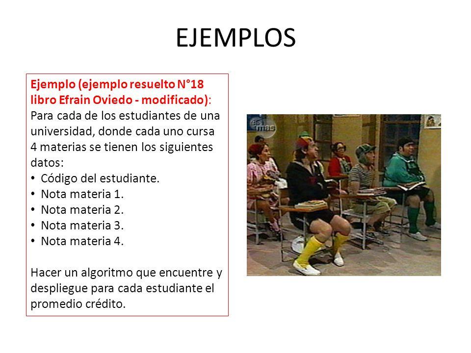 EJEMPLOS Ejemplo (ejemplo resuelto N°18 libro Efrain Oviedo - modificado): Para cada de los estudiantes de una universidad, donde cada uno cursa 4 materias se tienen los siguientes datos: Código del estudiante.