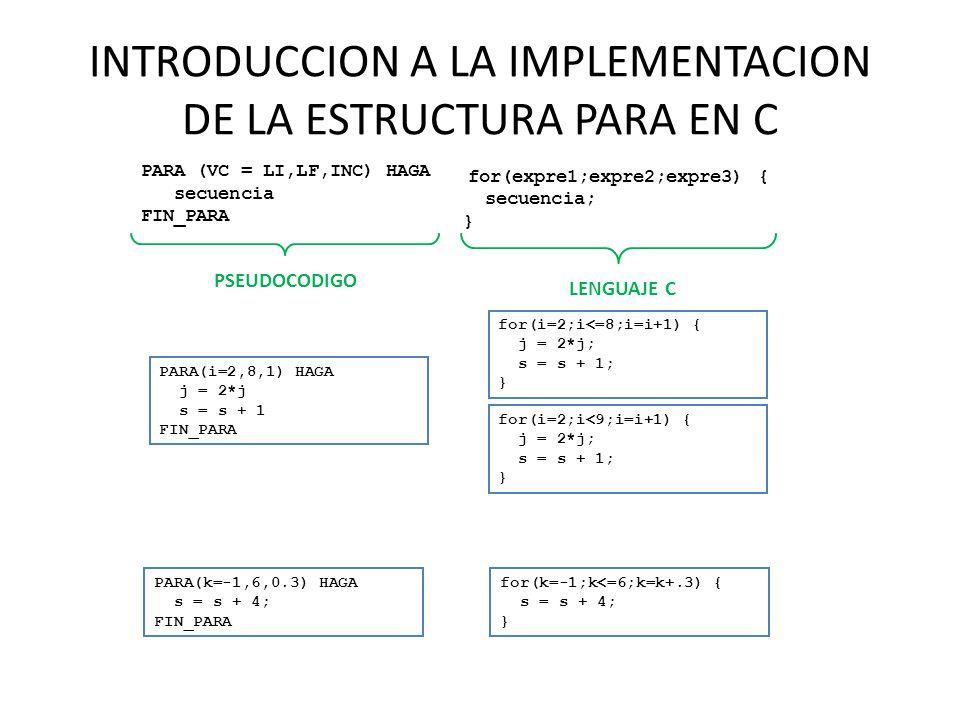 INTRODUCCION A LA IMPLEMENTACION DE LA ESTRUCTURA PARA EN C PARA (VC = LI,LF,INC) HAGA secuencia FIN_PARA for(expre1;expre2;expre3) { secuencia; } PSE
