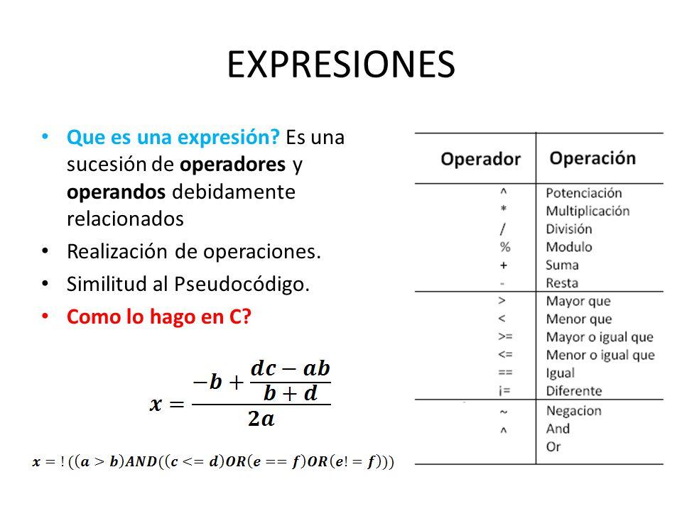 EXPRESIONES Que es una expresión? Es una sucesión de operadores y operandos debidamente relacionados Realización de operaciones. Similitud al Pseudocó