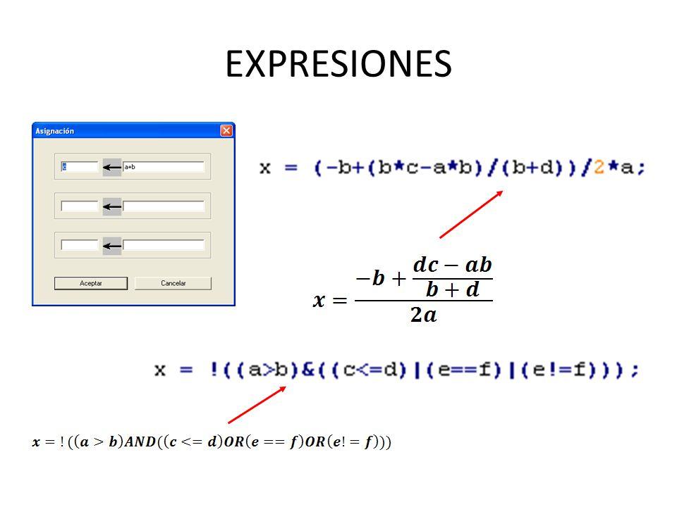 Operadores y expresiones: – Aritméticos, lógicos y relacionales (+, -, *, /, %).