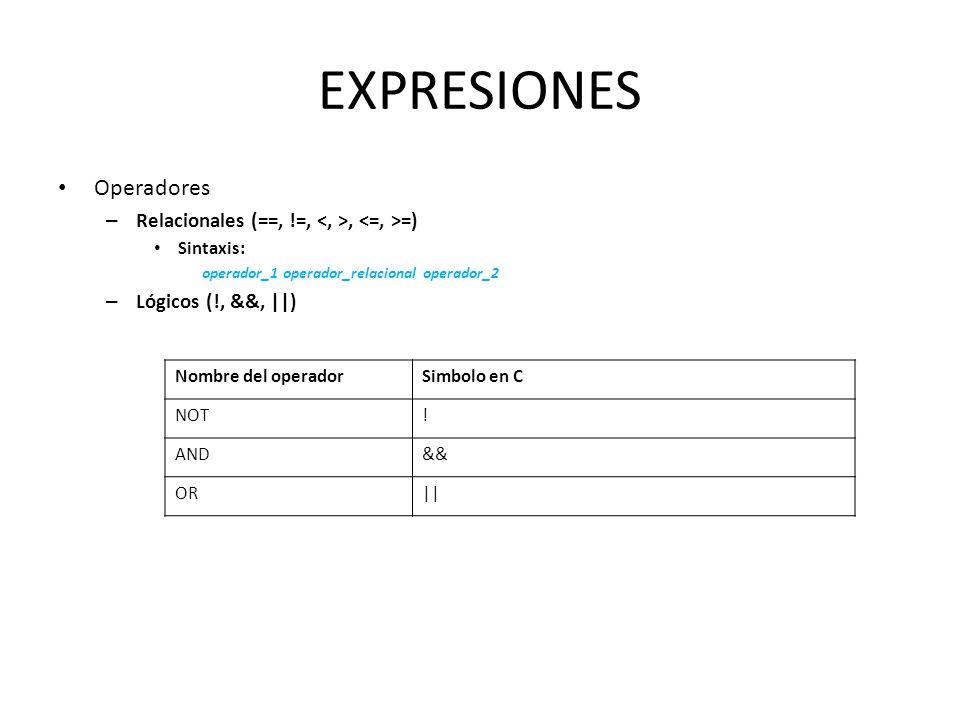 EXPRESIONES Operadores – Relacionales (==, !=,, =) Sintaxis: operador_1 operador_relacional operador_2 – Lógicos (!, &&, ||) Nombre del operadorSimbol
