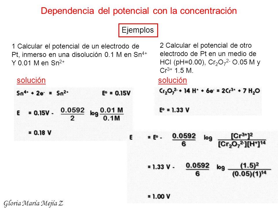 Dependencia del potencial con la concentración Ejemplos 1 Calcular el potencial de un electrodo de Pt, inmerso en una disolución 0.1 M en Sn 4+ Y 0.01
