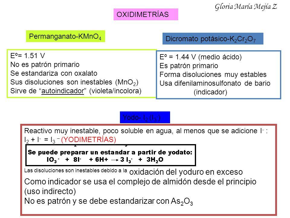 OXIDIMETRÍAS Permanganato-KMnO 4 Eº= 1.51 V No es patrón primario Se estandariza con oxalato Sus disoluciones son inestables (MnO 2 ) Sirve de autoind