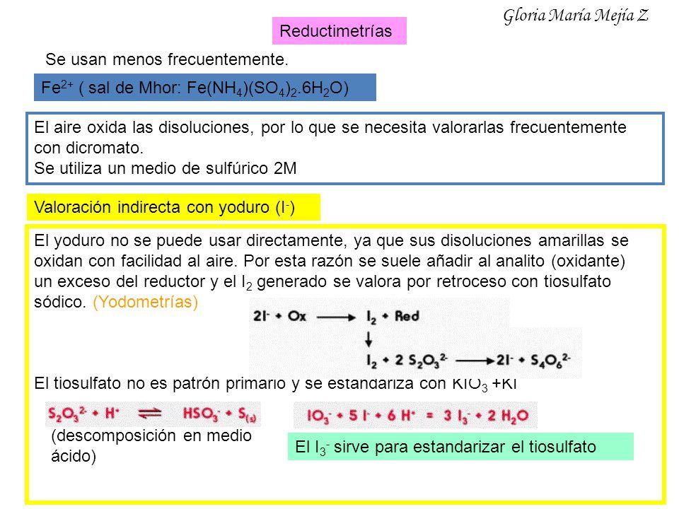 Reductimetrías Se usan menos frecuentemente. Fe 2+ ( sal de Mhor: Fe(NH 4 )(SO 4 ) 2.6H 2 O) El aire oxida las disoluciones, por lo que se necesita va