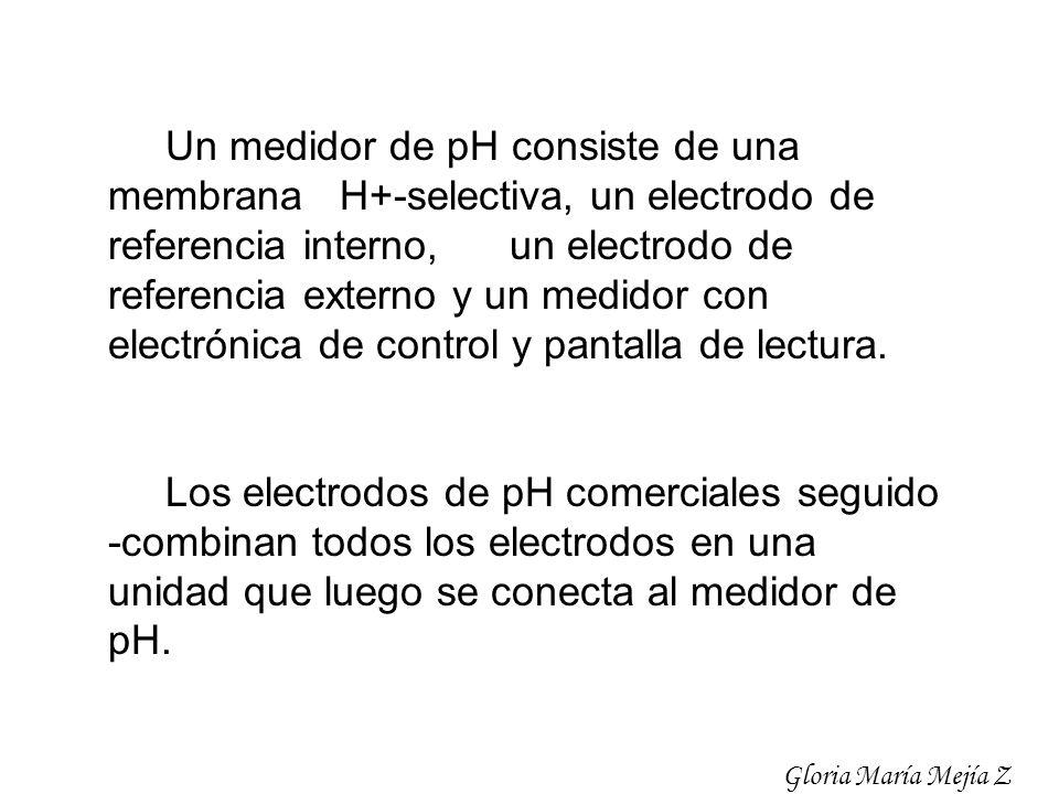 Un medidor de pH consiste de una membrana H+-selectiva, un electrodo de referencia interno, un electrodo de referencia externo y un medidor con electr