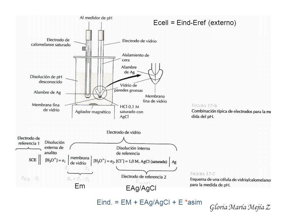 Em EAg/AgCl Ecell = Eind-Eref (externo) Eind. = EM + EAg/AgCl + E *asim Gloria María Mejía Z