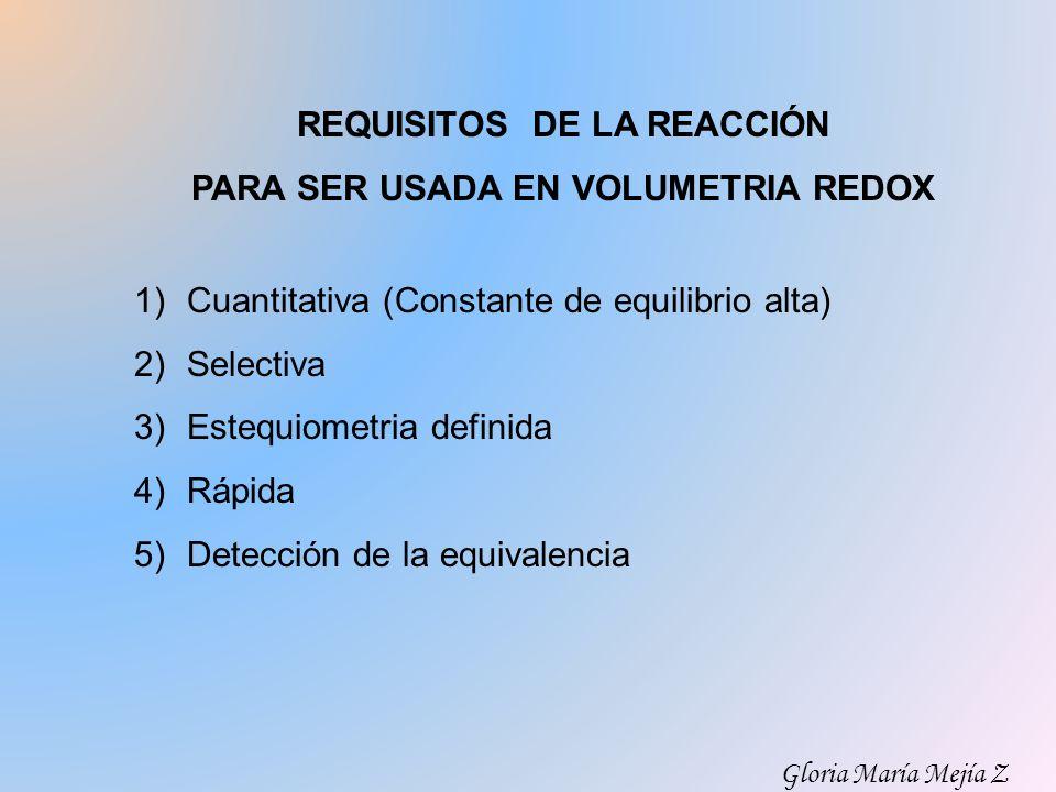 REQUISITOS DE LA REACCIÓN PARA SER USADA EN VOLUMETRIA REDOX 1)Cuantitativa (Constante de equilibrio alta) 2)Selectiva 3)Estequiometria definida 4)Ráp