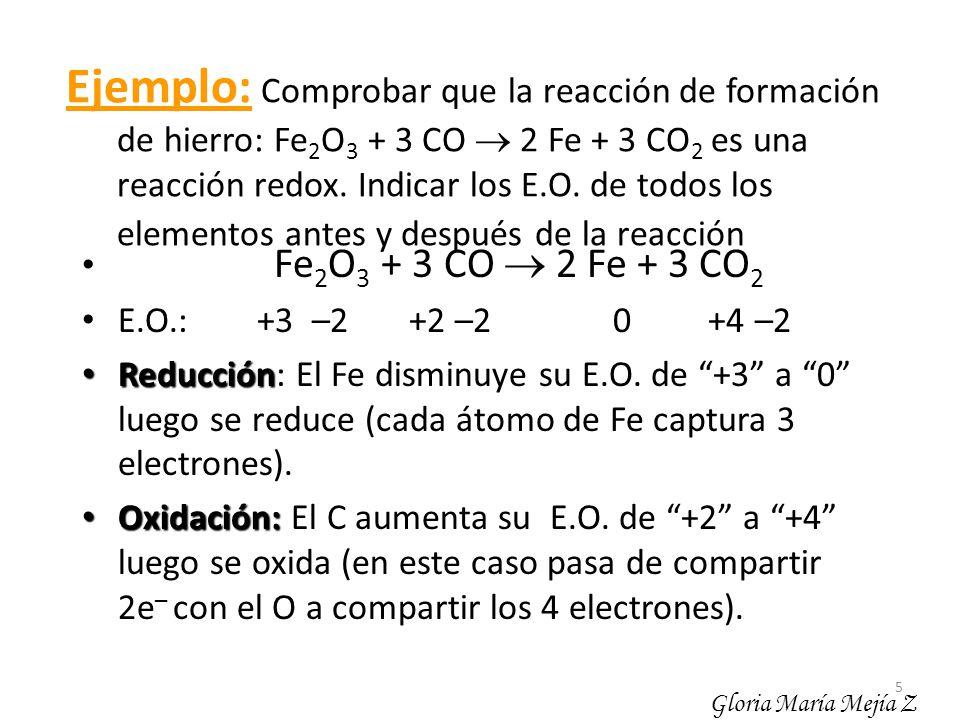 5 Ejemplo: Comprobar que la reacción de formación de hierro: Fe 2 O 3 + 3 CO 2 Fe + 3 CO 2 es una reacción redox. Indicar los E.O. de todos los elemen