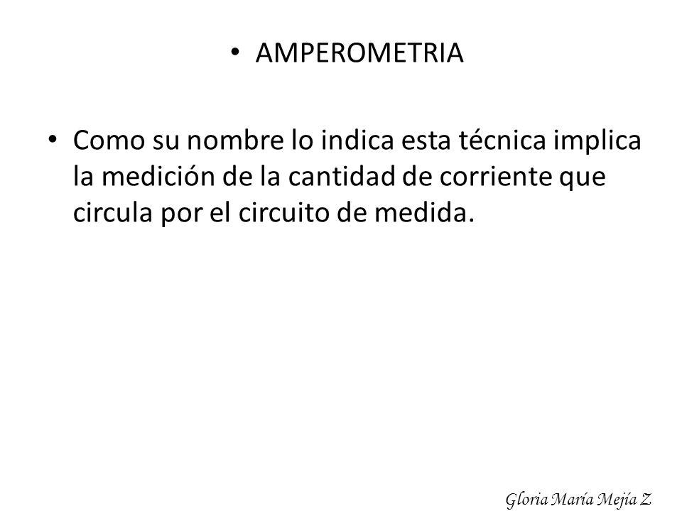 AMPEROMETRIA Como su nombre lo indica esta técnica implica la medición de la cantidad de corriente que circula por el circuito de medida. Gloria María