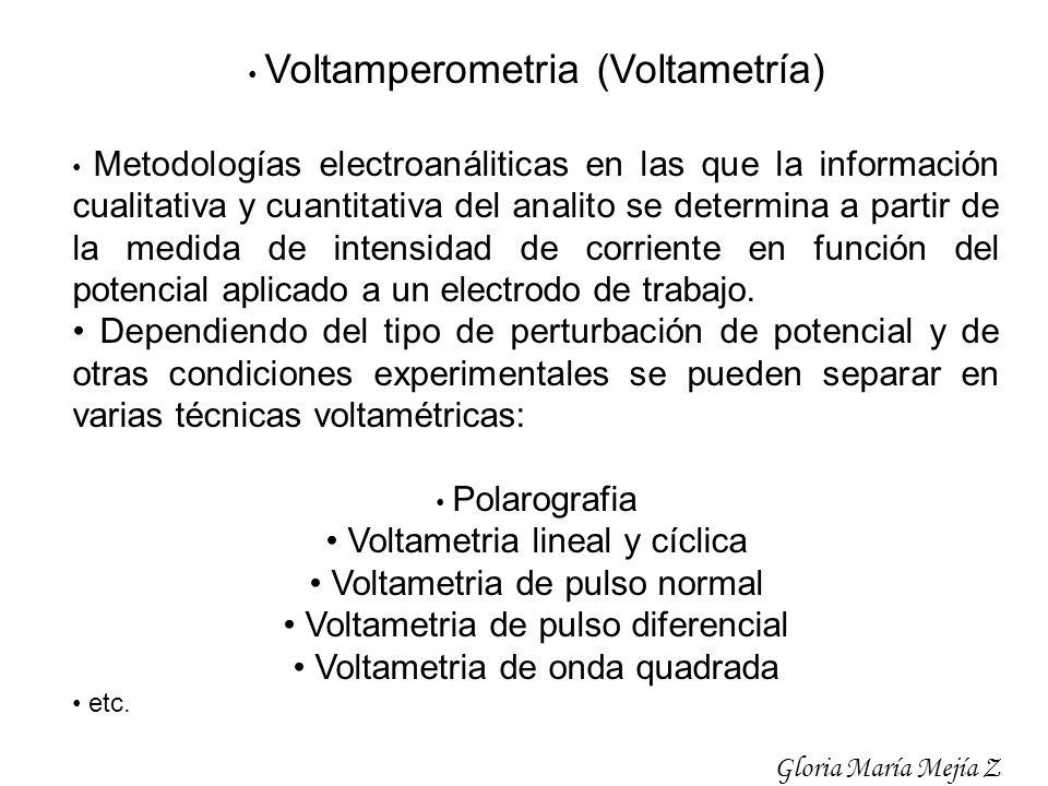 Voltamperometria (Voltametría) Metodologías electroanáliticas en las que la información cualitativa y cuantitativa del analito se determina a partir d