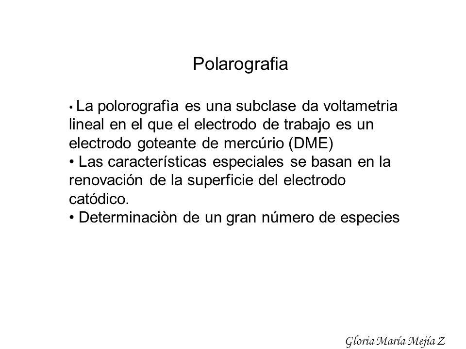 Polarografia La polorografìa es una subclase da voltametria lineal en el que el electrodo de trabajo es un electrodo goteante de mercúrio (DME) Las ca
