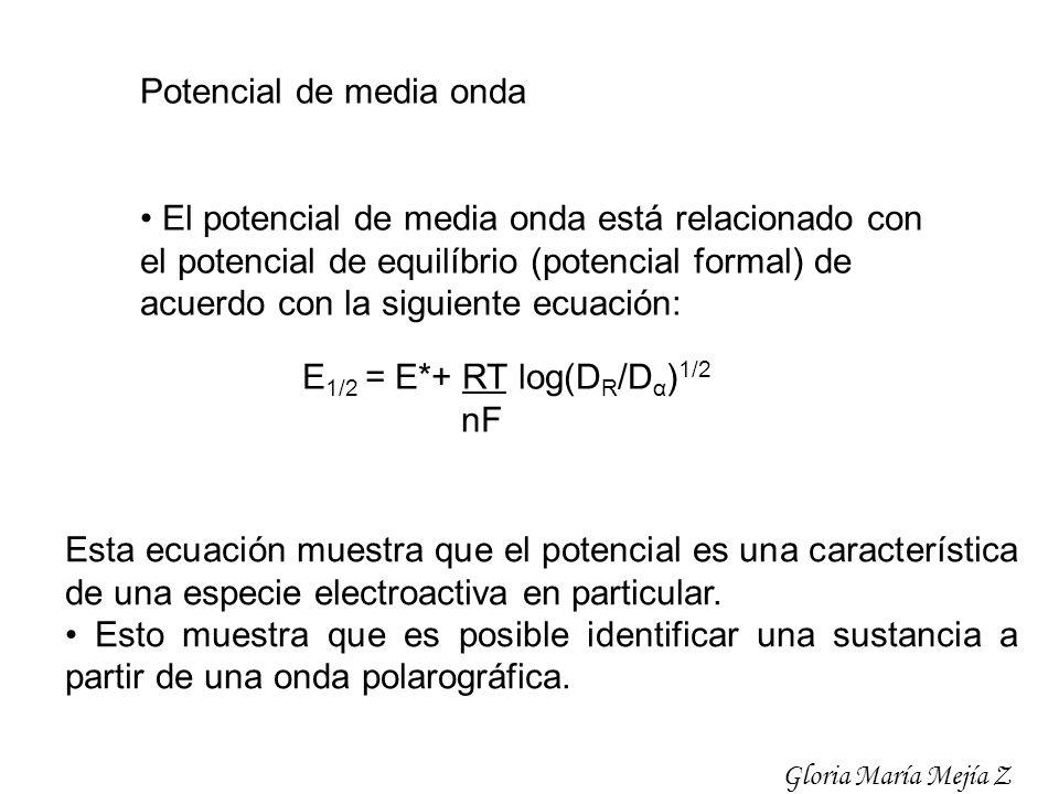 Potencial de media onda El potencial de media onda está relacionado con el potencial de equilíbrio (potencial formal) de acuerdo con la siguiente ecua