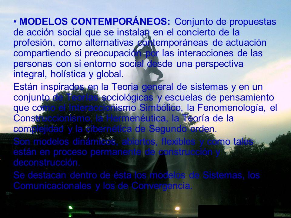 MODELOS CONTEMPORÁNEOS: Conjunto de propuestas de acción social que se instalan en el concierto de la profesión, como alternativas contemporáneas de a