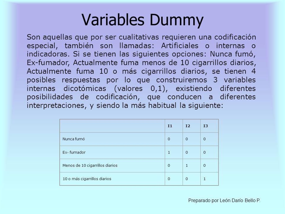 Variables Dummy Son aquellas que por ser cualitativas requieren una codificación especial, también son llamadas: Artificiales o internas o indicadoras