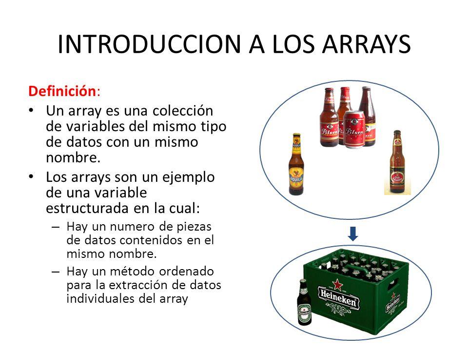 INTRODUCCION A LOS ARRAYS Definición: Un array es una colección de variables del mismo tipo de datos con un mismo nombre. Los arrays son un ejemplo de