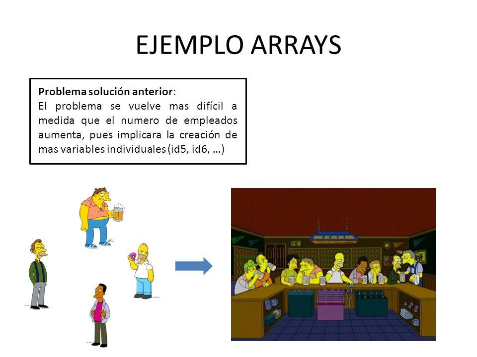 EJEMPLO ARRAYS Problema solución anterior: El problema se vuelve mas difícil a medida que el numero de empleados aumenta, pues implicara la creación d