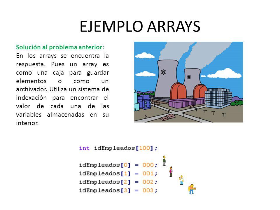EJEMPLO ARRAYS Solución al problema anterior: En los arrays se encuentra la respuesta. Pues un array es como una caja para guardar elementos o como un