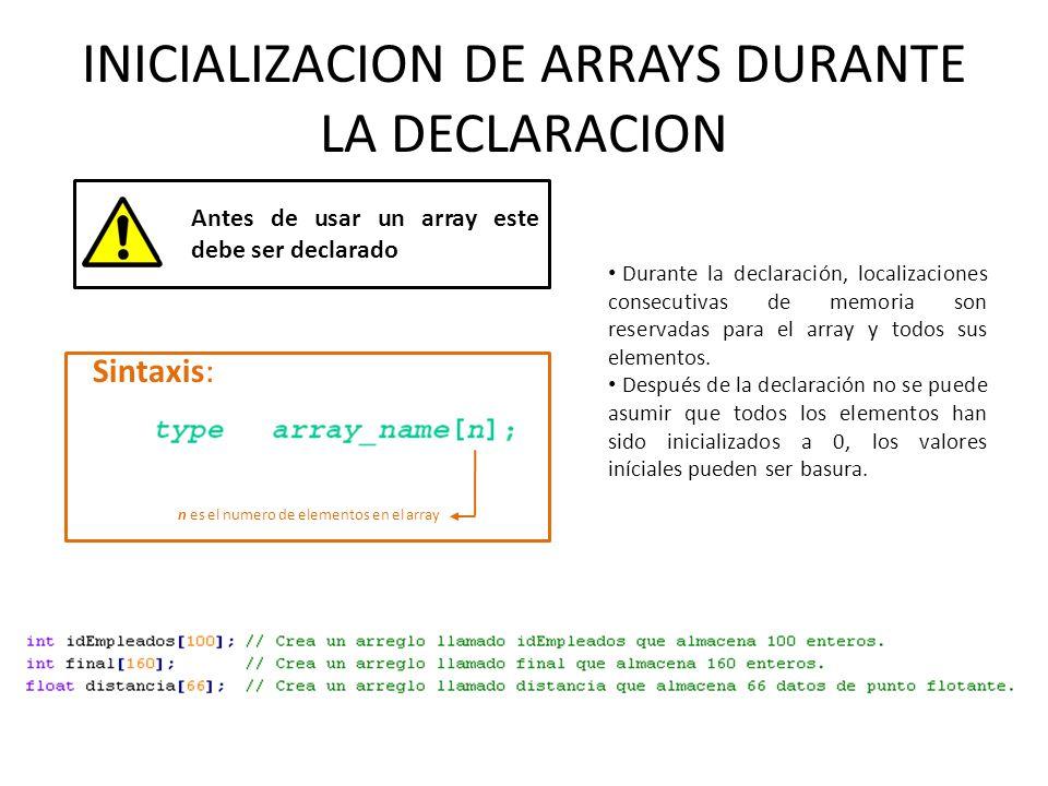 INICIALIZACION DE ARRAYS DURANTE LA DECLARACION Antes de usar un array este debe ser declarado Sintaxis: n es el numero de elementos en el array Duran