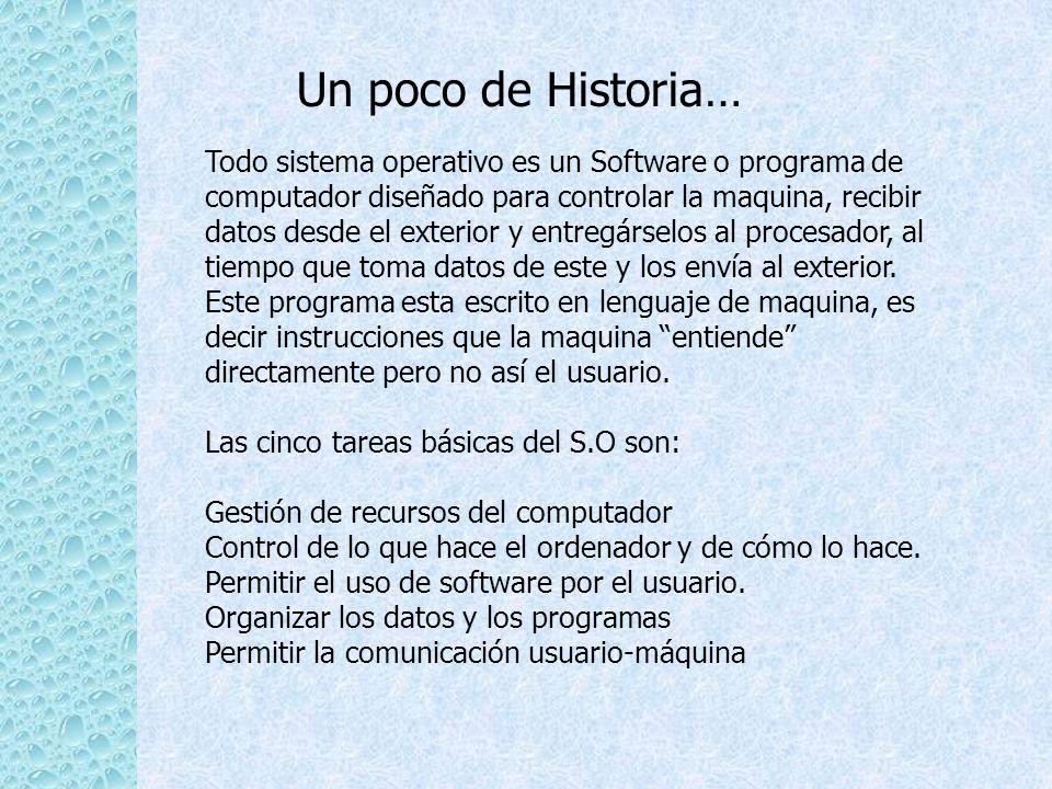 Un poco de Historia… Todo sistema operativo es un Software o programa de computador diseñado para controlar la maquina, recibir datos desde el exterio
