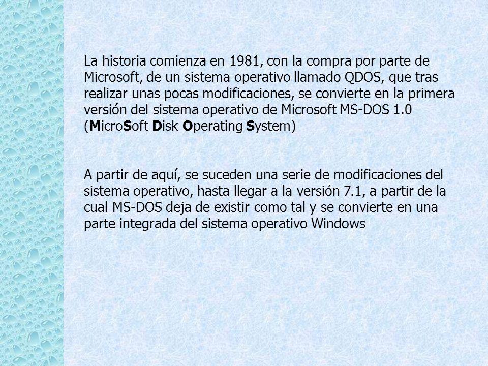 La historia comienza en 1981, con la compra por parte de Microsoft, de un sistema operativo llamado QDOS, que tras realizar unas pocas modificaciones,