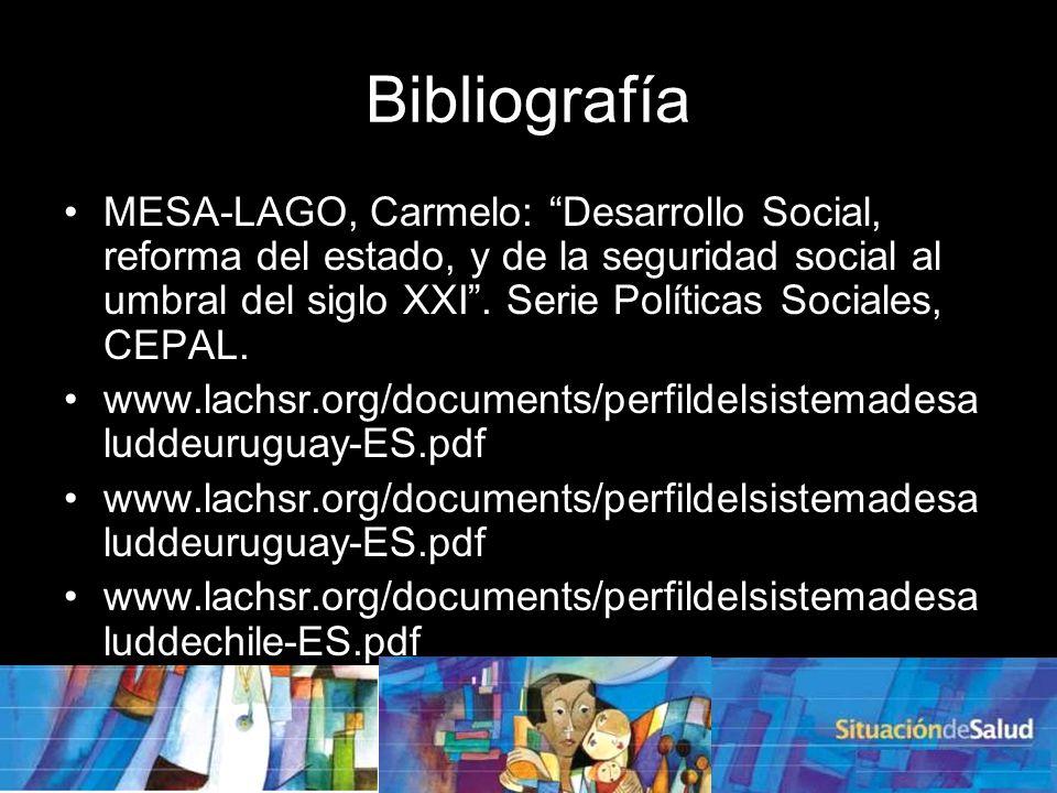 Bibliografía MESA-LAGO, Carmelo: Desarrollo Social, reforma del estado, y de la seguridad social al umbral del siglo XXI.
