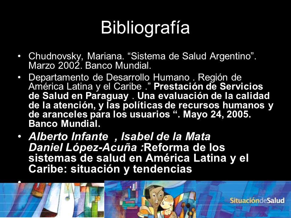 Bibliografía Chudnovsky, Mariana.Sistema de Salud Argentino.