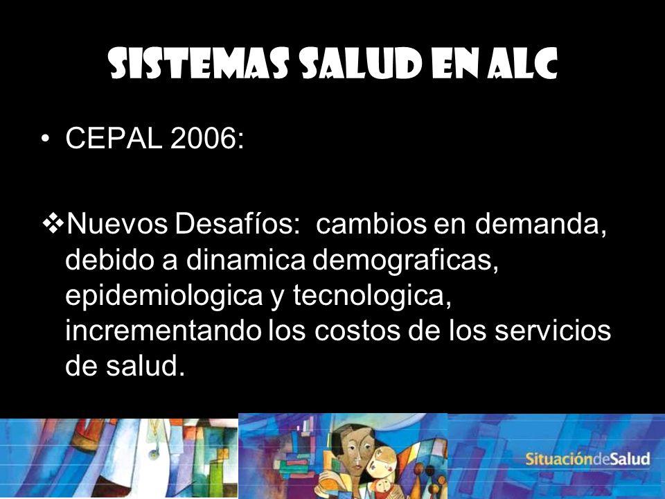 CEPAL 2006: Nuevos Desafíos: cambios en demanda, debido a dinamica demograficas, epidemiologica y tecnologica, incrementando los costos de los servicios de salud.