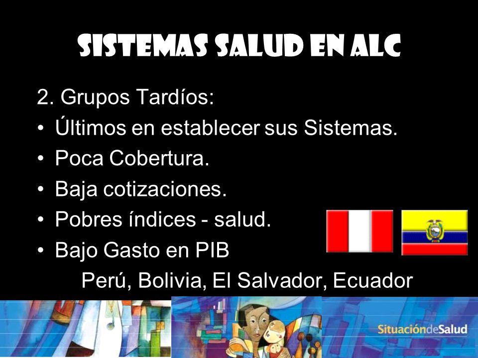 3. Intermedios: Se encuentran entre ambos grupos. Colombia, México, Panamá. Sistemas Salud en ALC