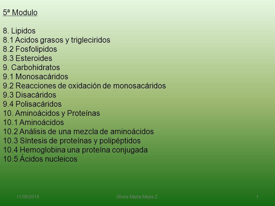 11/06/2014 Gloria Maria Mejia Z. 1 5ª Modulo 8. Lipidos 8.1 Acidos grasos y trigleciridos 8.2 Fosfolipidos 8.3 Esteroides 9. Carbohidratos 9.1 Monosac