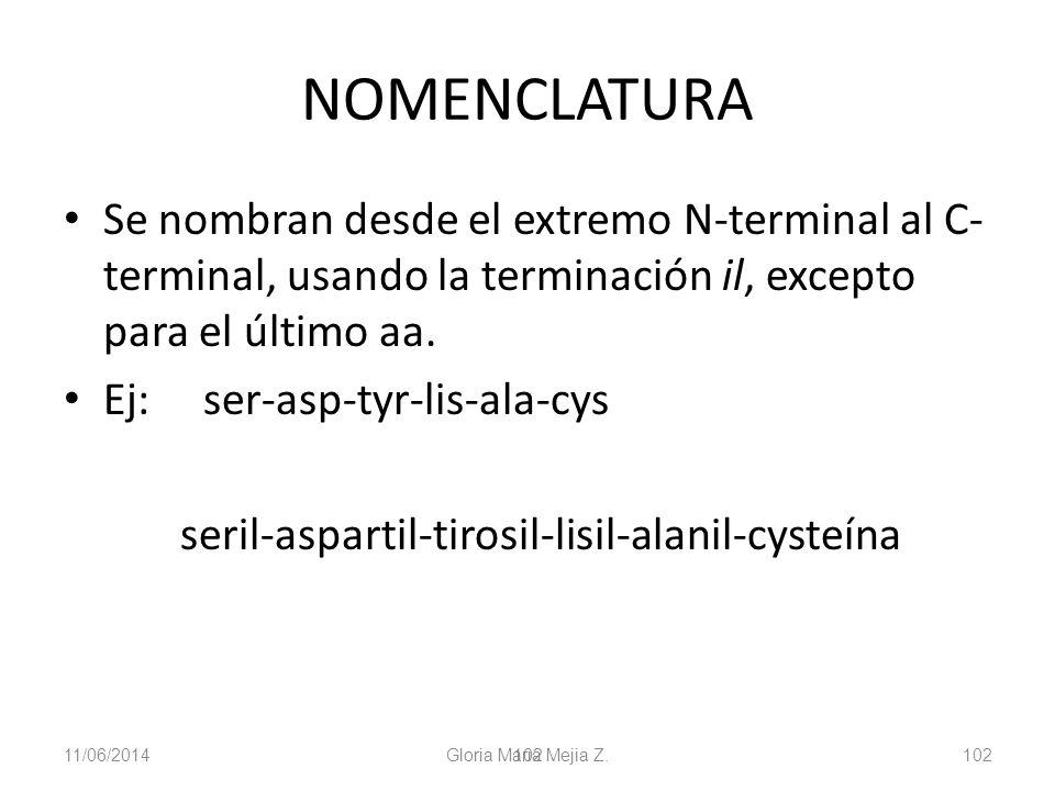 11/06/2014 Gloria Maria Mejia Z. 102 NOMENCLATURA Se nombran desde el extremo N-terminal al C- terminal, usando la terminación il, excepto para el últ