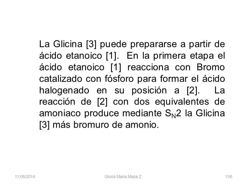 11/06/2014 Gloria Maria Mejia Z. 106 La Glicina [3] puede prepararse a partir de ácido etanoico [1]. En la primera etapa el ácido etanoico [1] reaccio