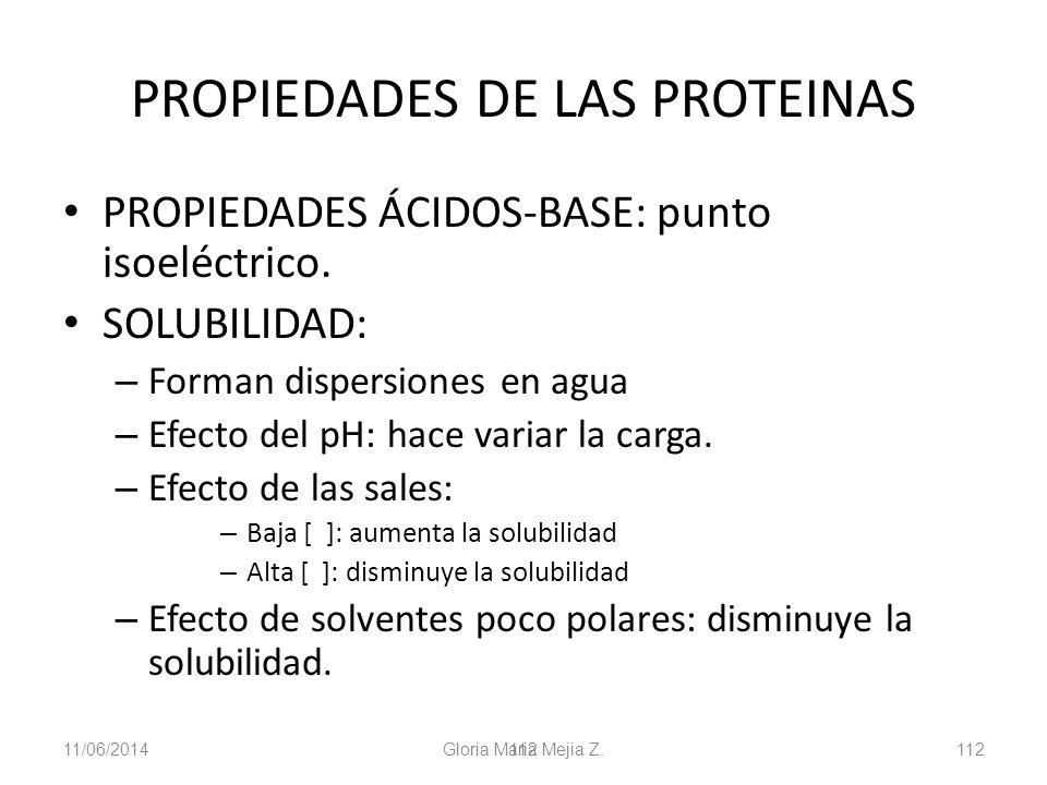 11/06/2014 Gloria Maria Mejia Z. 112 PROPIEDADES DE LAS PROTEINAS PROPIEDADES ÁCIDOS-BASE: punto isoeléctrico. SOLUBILIDAD: – Forman dispersiones en a