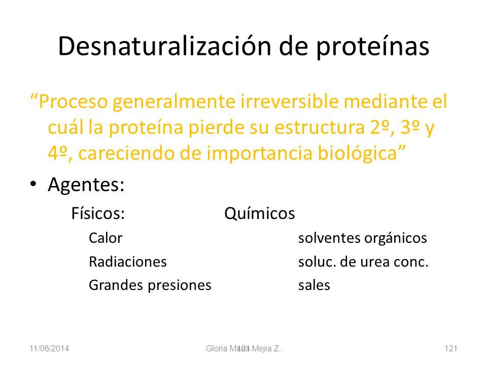 11/06/2014 Gloria Maria Mejia Z. 121 Desnaturalización de proteínas Proceso generalmente irreversible mediante el cuál la proteína pierde su estructur