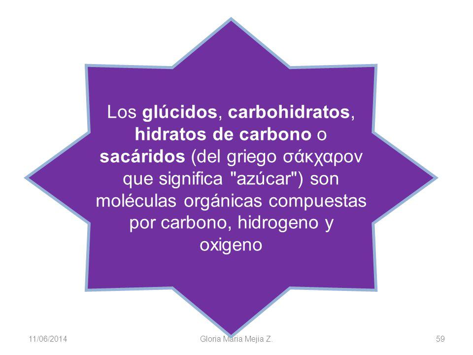 11/06/2014 Gloria Maria Mejia Z. 59 Los glúcidos, carbohidratos, hidratos de carbono o sacáridos (del griego σάκχαρον que significa