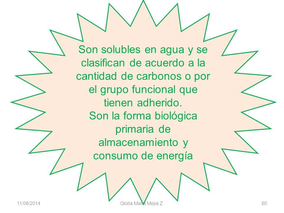11/06/2014 Gloria Maria Mejia Z. 60 Son solubles en agua y se clasifican de acuerdo a la cantidad de carbonos o por el grupo funcional que tienen adhe