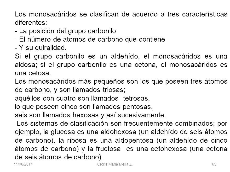 11/06/2014 Gloria Maria Mejia Z. 65 Los monosacáridos se clasifican de acuerdo a tres características diferentes: - La posición del grupo carbonilo -