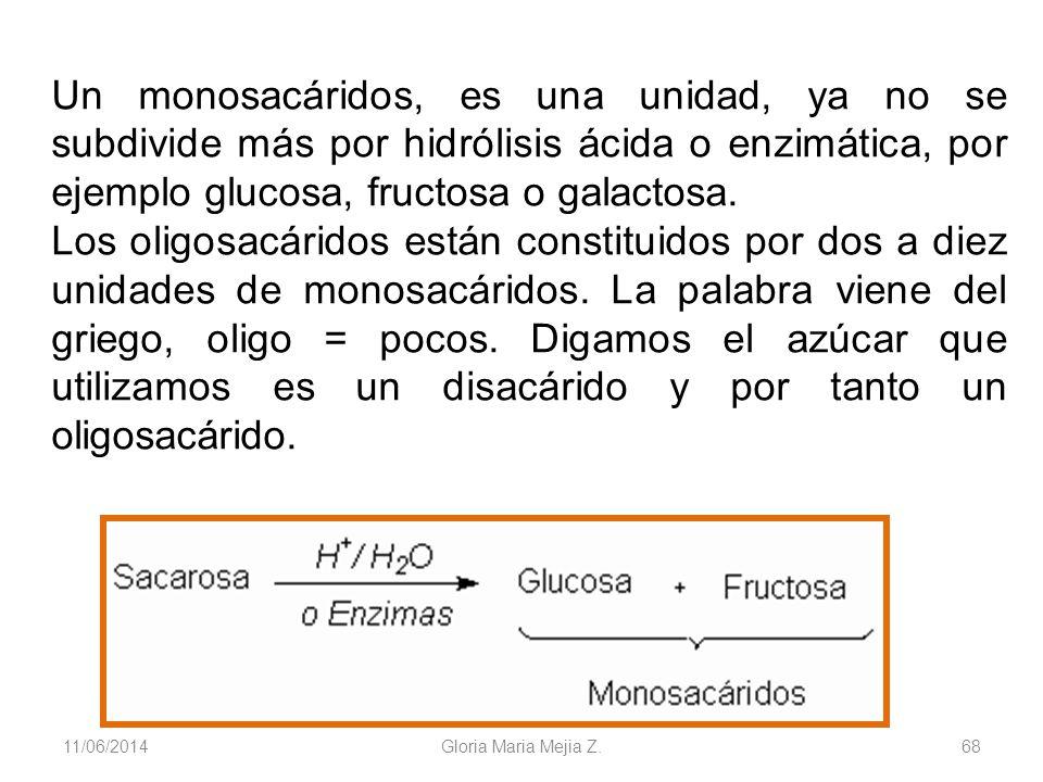 11/06/2014 Gloria Maria Mejia Z. 68 Un monosacáridos, es una unidad, ya no se subdivide más por hidrólisis ácida o enzimática, por ejemplo glucosa, fr