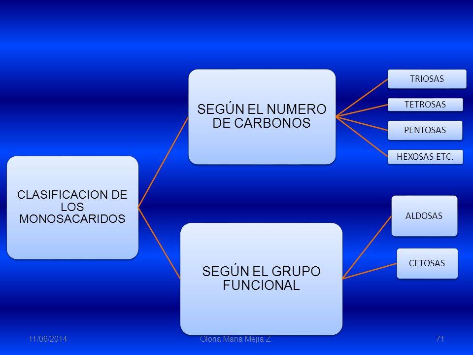 11/06/2014 Gloria Maria Mejia Z. 71 CLASIFICACION DE LOS MONOSACARIDOS SEGÚN EL NUMERO DE CARBONOS TRIOSAS TETROSAS PENTOSAS HEXOSAS ETC. SEGÚN EL GRU