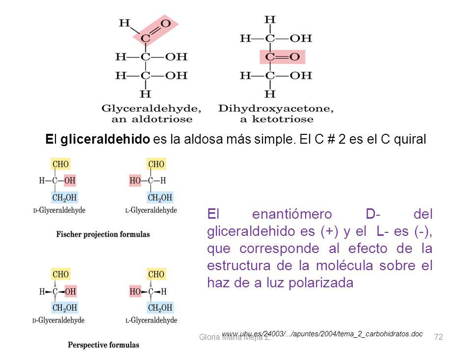 11/06/2014 Gloria Maria Mejia Z. 72 El gliceraldehido es la aldosa más simple. El C # 2 es el C quiral El enantiómero D- del gliceraldehido es (+) y e