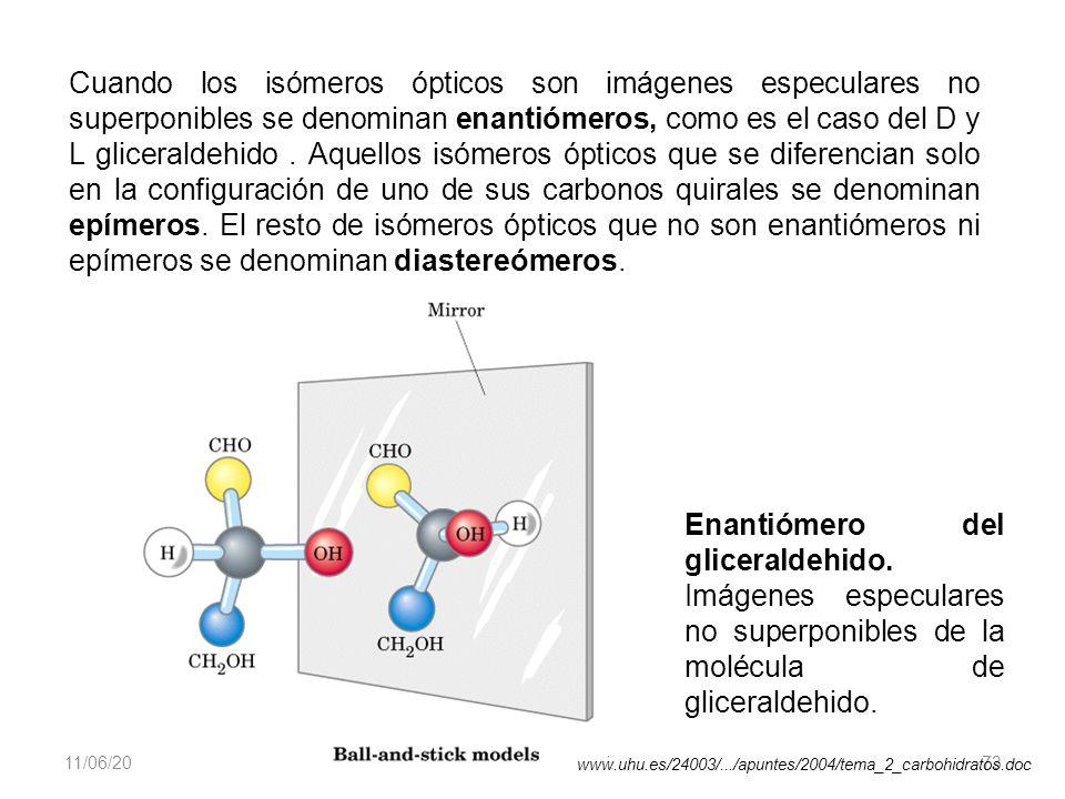 11/06/2014 Gloria Maria Mejia Z. 73 Cuando los isómeros ópticos son imágenes especulares no superponibles se denominan enantiómeros, como es el caso d