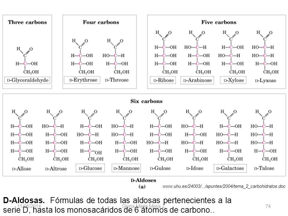 11/06/2014 Gloria Maria Mejia Z. 74 D-Aldosas. Fórmulas de todas las aldosas pertenecientes a la serie D, hasta los monosacáridos de 6 átomos de carbo