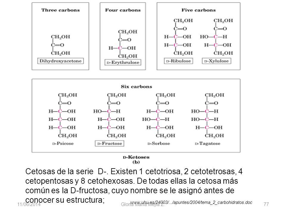 11/06/2014 Gloria Maria Mejia Z. 77 Cetosas de la serie D-. Existen 1 cetotriosa, 2 cetotetrosas, 4 cetopentosas y 8 cetohexosas. De todas ellas la ce
